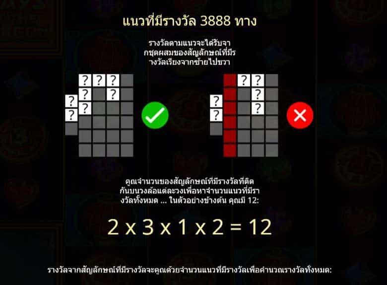 รูปแบบการชนะรางวัล 3888 ways of the dragon